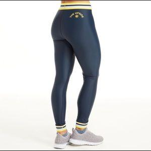 SoulCycle yellow rainbow elastic midi legging, S